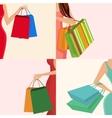 Shopping girl hand bag vector
