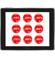 Business dashboard with a sale stickers in a pc vector