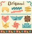 Retro origami set with design elements vector