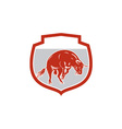 Raging bull jumping attacking charging retro vector