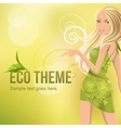 Eco background with beautiful blond vector