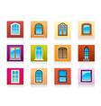 Plastic aluminum and wooden windows vector