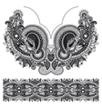Neckline grey embroidery fashion black and white vector