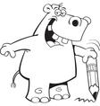 Cartoon student hippo vector