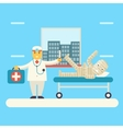 Doctor with bandaged patient characters icon vector