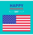 American flag presidents day blue background flat vector