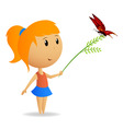 Cute little girl with green branch with butterfly vector