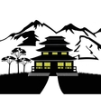Silhouette of the building on nature vector