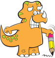 Cartoon triceratops holding a pencil vector