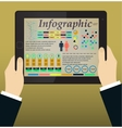 Infographics on the tablet pc  hands vector