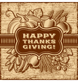 Happy thanksgiving retro card brown vector