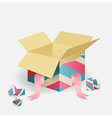 Colorful opened striped gift box vector