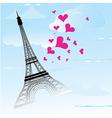 Paris town in france card as symbol love vector
