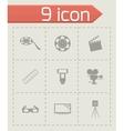 Black cinema icons set vector