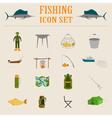 Fishing equipment icon set vector