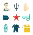Diving icons flat vector