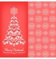 Greeting card with christmass tree red vector