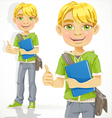 Blond teenage boy with a textbook shows ok vector