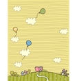 Cute village landscape scene vector