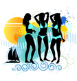Several girls are dancing on the beach vector