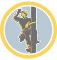 Power lineman telephone repairman looking saluting vector