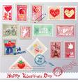 Set of vintage post stamps vector