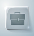 Glass square icon with highlights briefcase vector