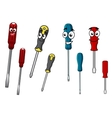 Colorful cartoon screwdrivers characters vector