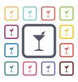Cocktail flat icons set vector