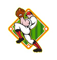 Baseball pitcher player pitching diamond vector