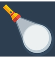 Yellow flashlight in flat style on dark background vector