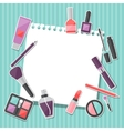 Beauty background with icons cosmetics vector