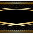 Black ornamental background with golden decoration vector