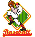 Baseball pitcher player pitching diamond vector