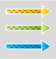 Blue green and yellow arrows with footprints vector