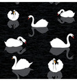 Bird water background swans and lake seamless patt vector