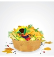 Thanksgiving basket with vegetables and fruits vector