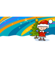 Kid on christmas cartoon greeting card vector