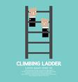 Hands climbing ladder vector