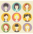 Collection of women avatars in flat style vector