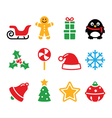 Christmas icons set - santa xmas tree present vector