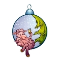 Fur-tree toy with funny sheep vector