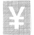 Yen sign - freehand symbol vector