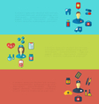 Set cards with medical elements trendy flat icons vector