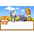 Animal cartoon with blank sign vector