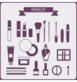 Set of cosmetics icons in flat style vector
