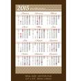 Pocket calendar 2015 with usa holidays vector