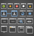 Web browser icons collection vector