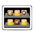 Orange shopping cart app icons vector