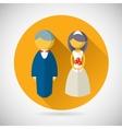 Wedding symbol bride and groom marriage icon vector